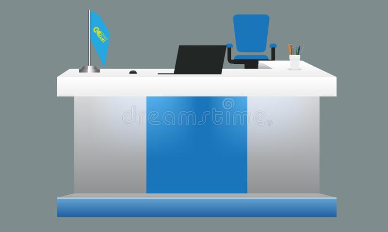 Пустой белый угловой модель-макет стола таблицы приема или выставки Тетрадь и ручки флага на таблице Высокое детальное 3d иллюстрация вектора