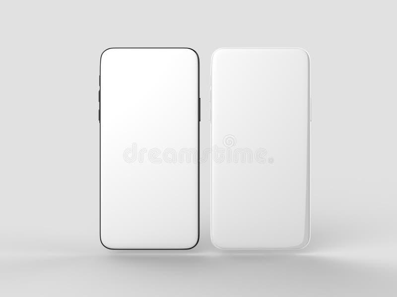 Пустой белый экран телефона шатона более менее умный для для цифрового представления дизайна иллюстрация 3d представляет иллюстрация вектора