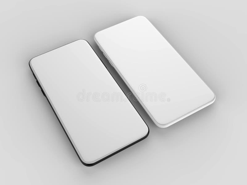 Пустой белый экран телефона шатона более менее умный для для цифрового представления дизайна иллюстрация 3d представляет иллюстрация штока