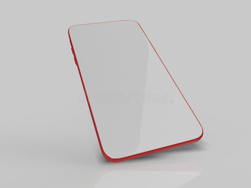 Пустой белый экран телефона шатона более менее умный для для цифрового представления дизайна иллюстрация 3d представляет бесплатная иллюстрация