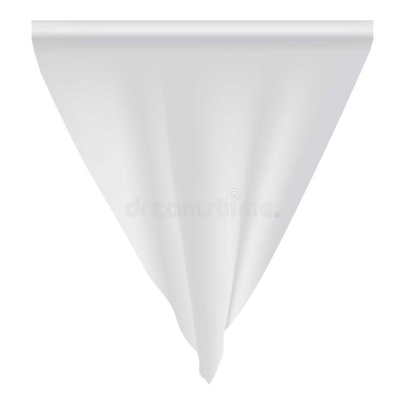 Пустой белый модель-макет вымпела, реалистический стиль иллюстрация вектора
