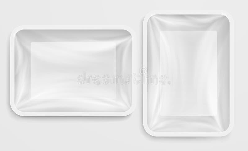 Пустой белый пищевой контейнер пластичной коробки упаковывать изолированный едой иллюстрация штока