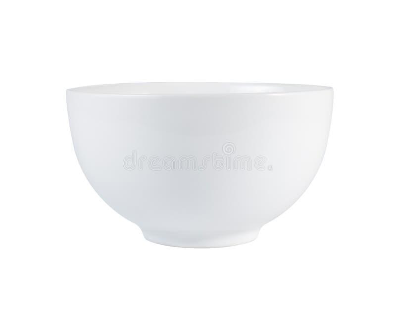 Пустой белый шар (керамический или фарфор) изолированный на белизне стоковые фото