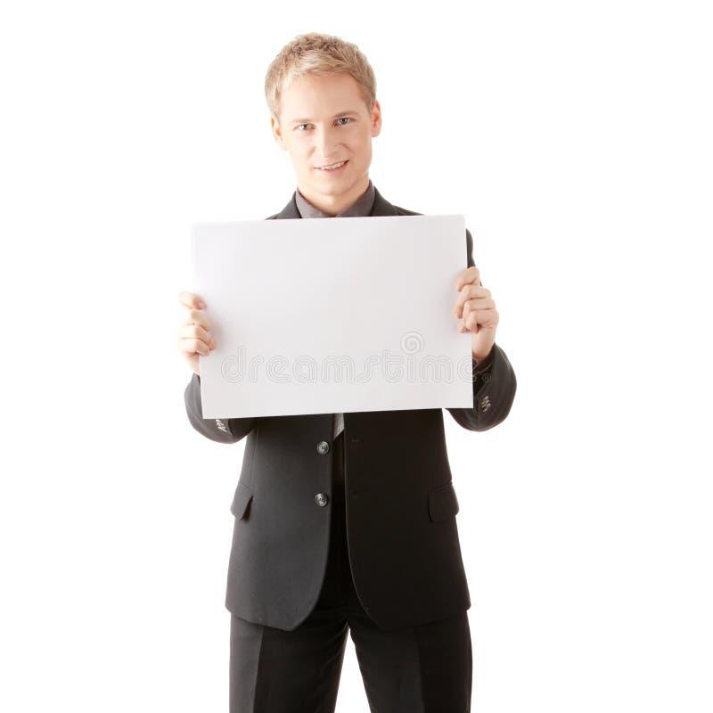 пустой бизнесмен держит знаки молодой стоковые изображения rf