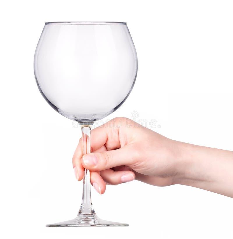 Пустой бокал вина в наличии изолированный на белизне стоковые изображения rf
