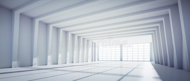 Пустой большой белый промышленный склад иллюстрация штока