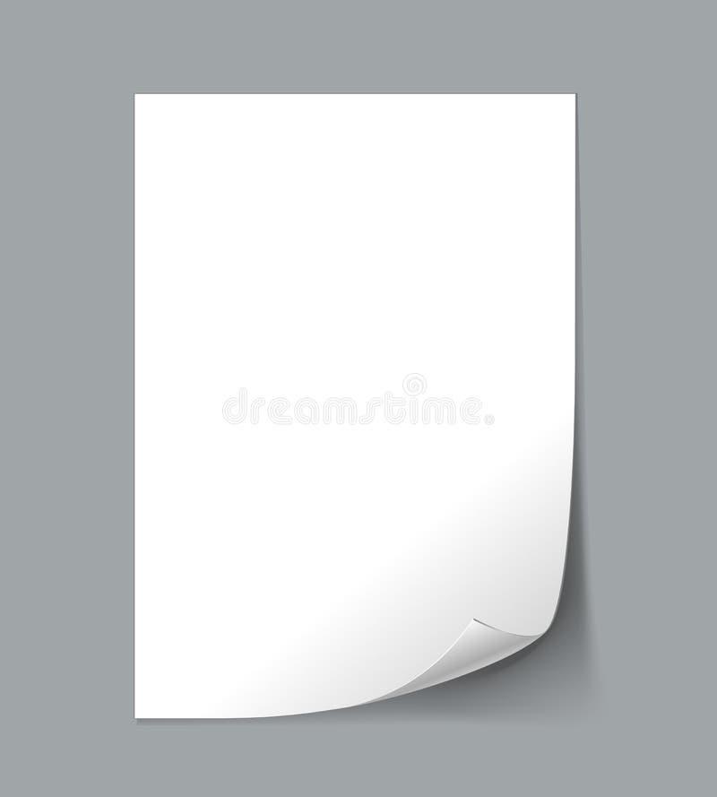 Пустой бумажный лист иллюстрация вектора