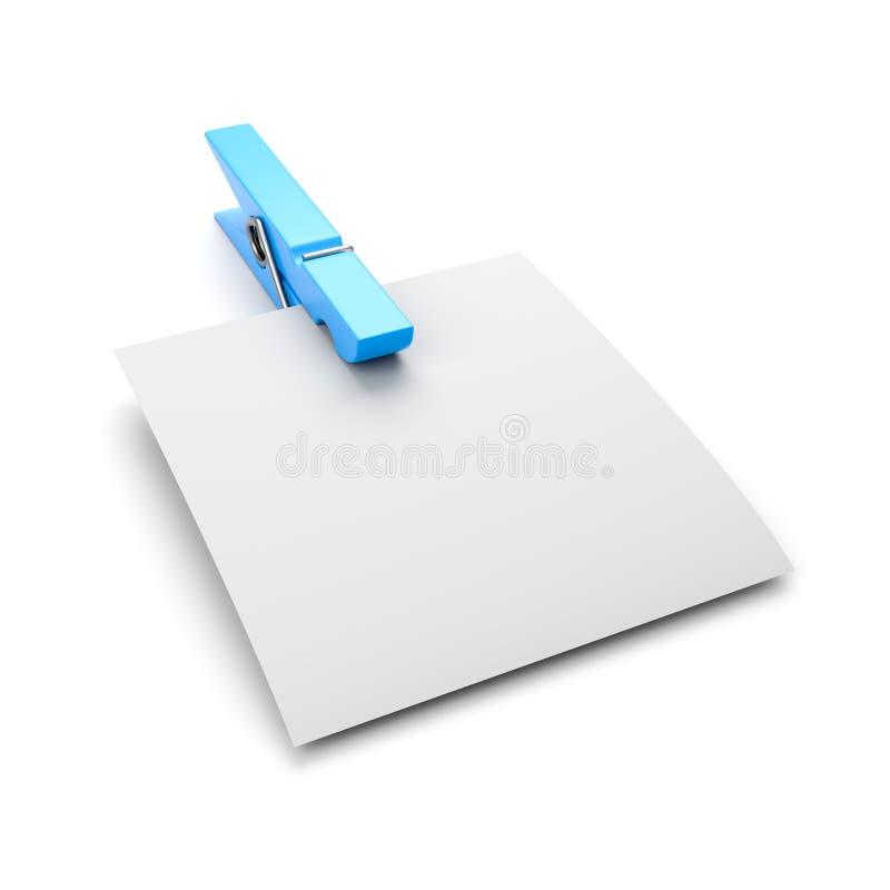 Пустой бумажный лист с зажимкой для белья иллюстрация вектора