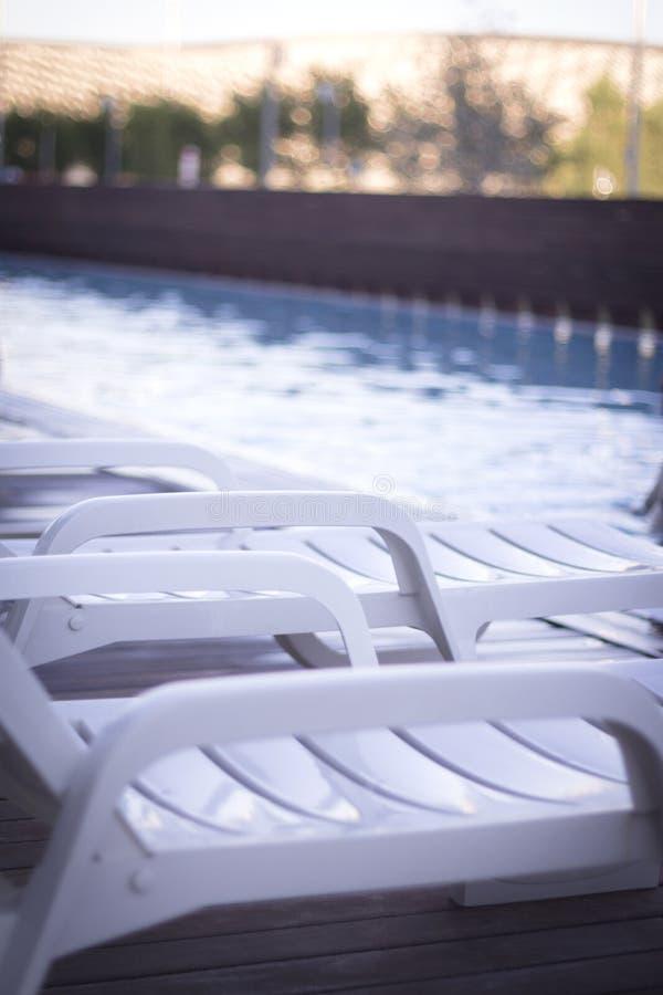 Пустой гамак в бассейне стоковые фотографии rf