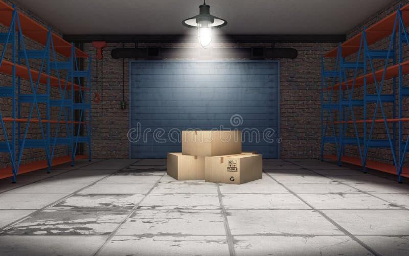 Пустой гараж с картонными коробками иллюстрация вектора
