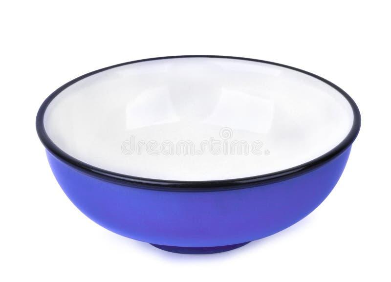 Пустой голубой керамический шар изолированный на белизне стоковые изображения