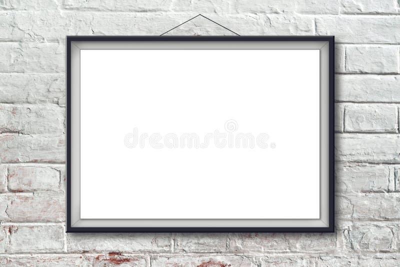 Пустой горизонтальный плакат картины в черной рамке стоковые фотографии rf
