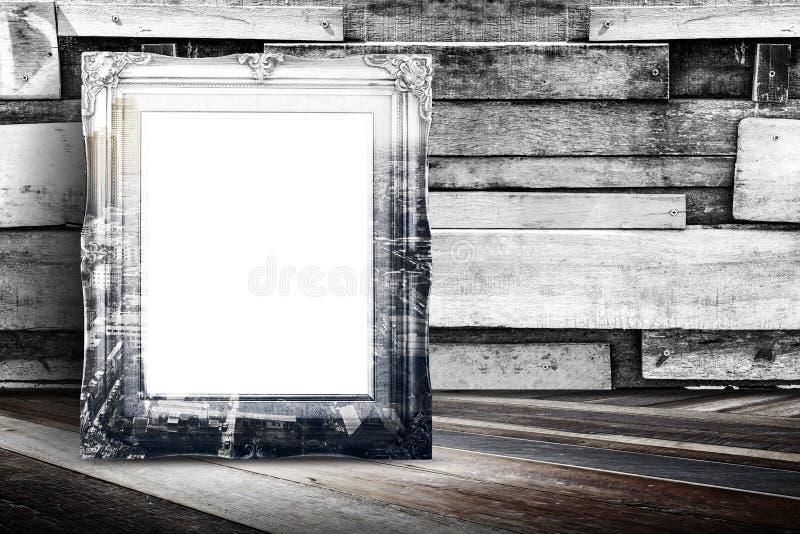 Пустой город overlay винтажная склонность рамки фото на древесине планки wal стоковое фото rf