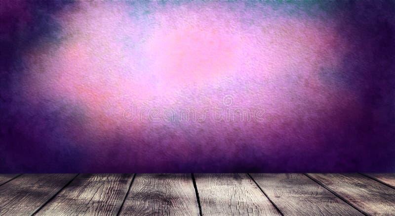 Пустой деревянный стол на темной покрашенной предпосылке стены стоковые изображения