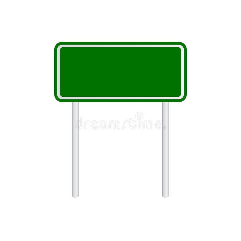 Пустой зеленый дорожный знак движения на белой предпосылке бесплатная иллюстрация
