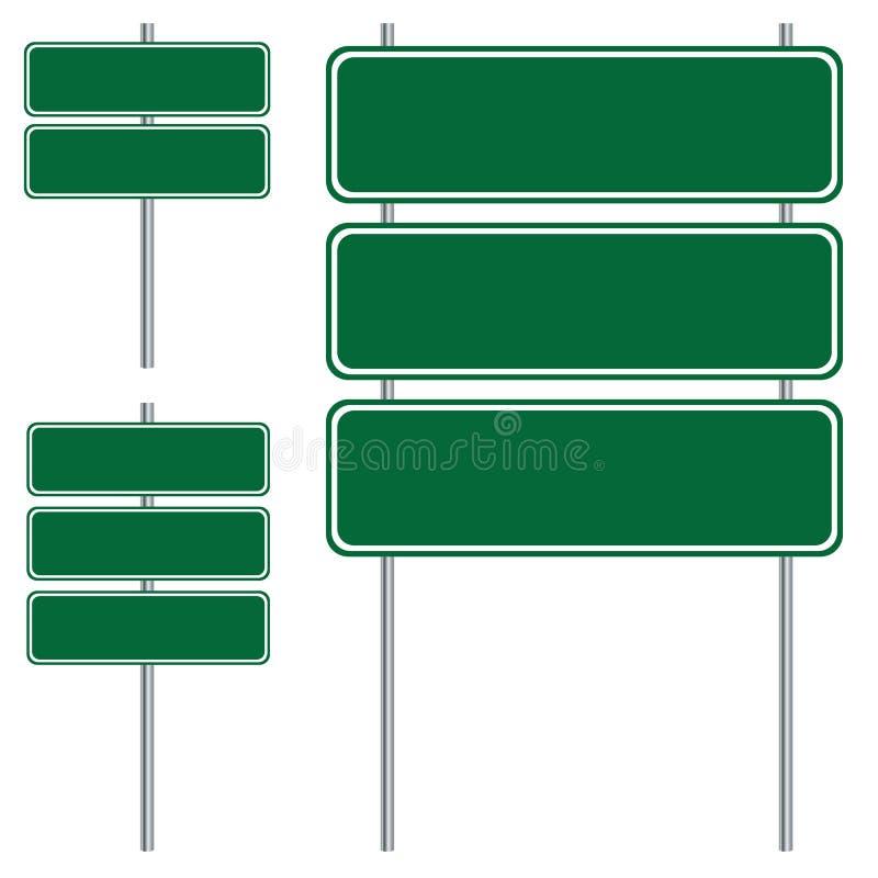 Пустой зеленый дизайн дорожного знака изолированный на белой предпосылке бесплатная иллюстрация