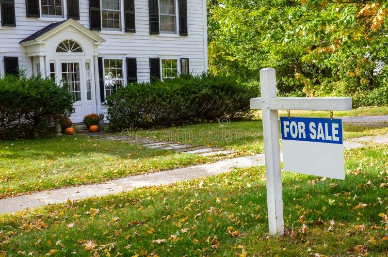 Пустой знак недвижимости перед домом на продаже стоковое изображение