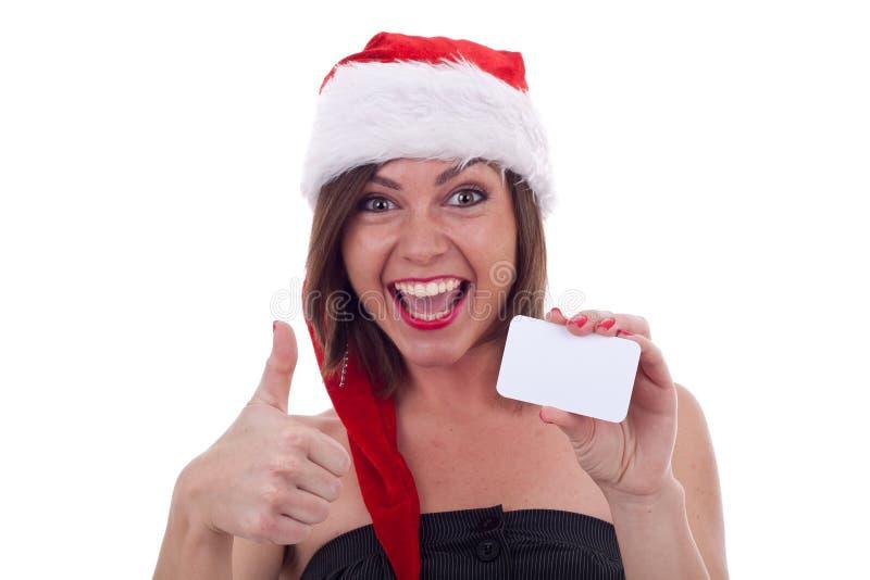 Пустой знак - ОДОБРЕННАЯ девушка Санта стоковое изображение