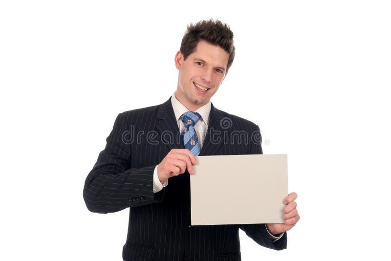 пустой знак удерживания бизнесмена стоковое изображение rf