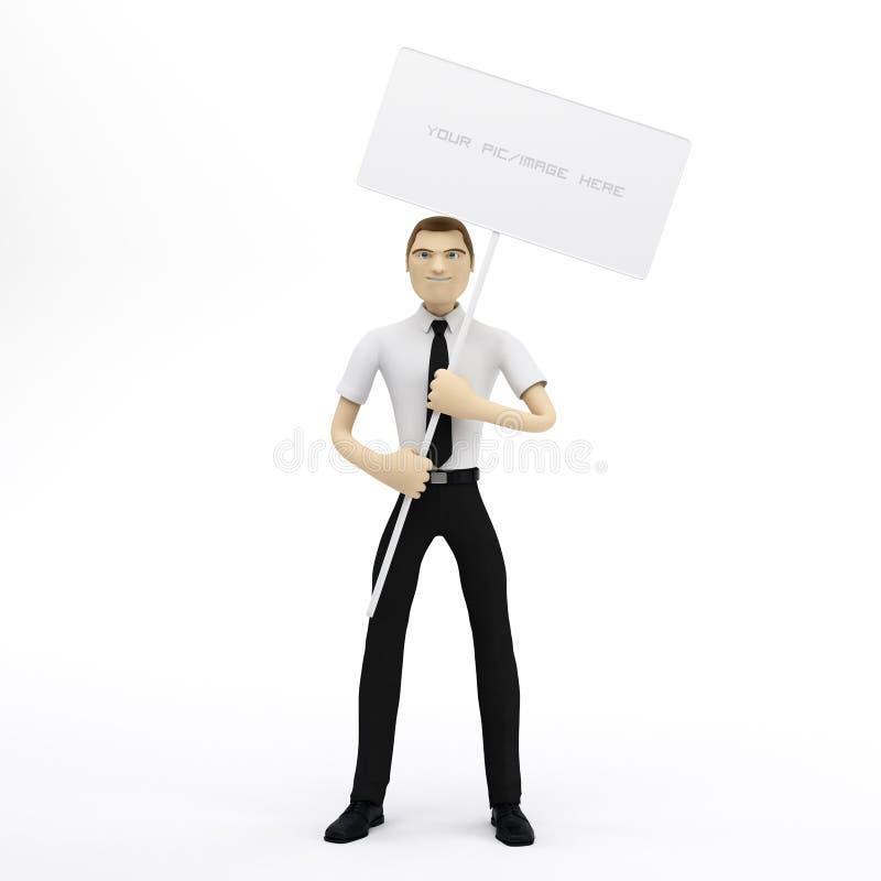 пустой знак удерживания бизнесмена 3d иллюстрация вектора