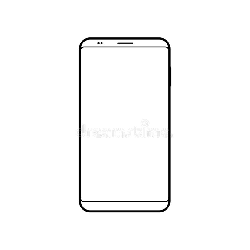 Пустой значок smartphone Символ сотового телефона Передвижное устройство, шаблон PDA иллюстрация штока
