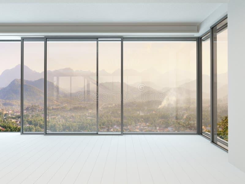 Пустой интерьер белой комнаты с огромным окном стоковое изображение rf