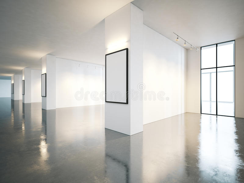 Пустой интерьер галереи открытого пространства с холстом 3d стоковые фото