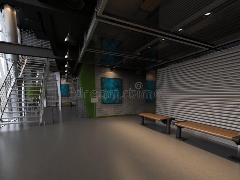 Пустой интерьер залы иллюстрация вектора