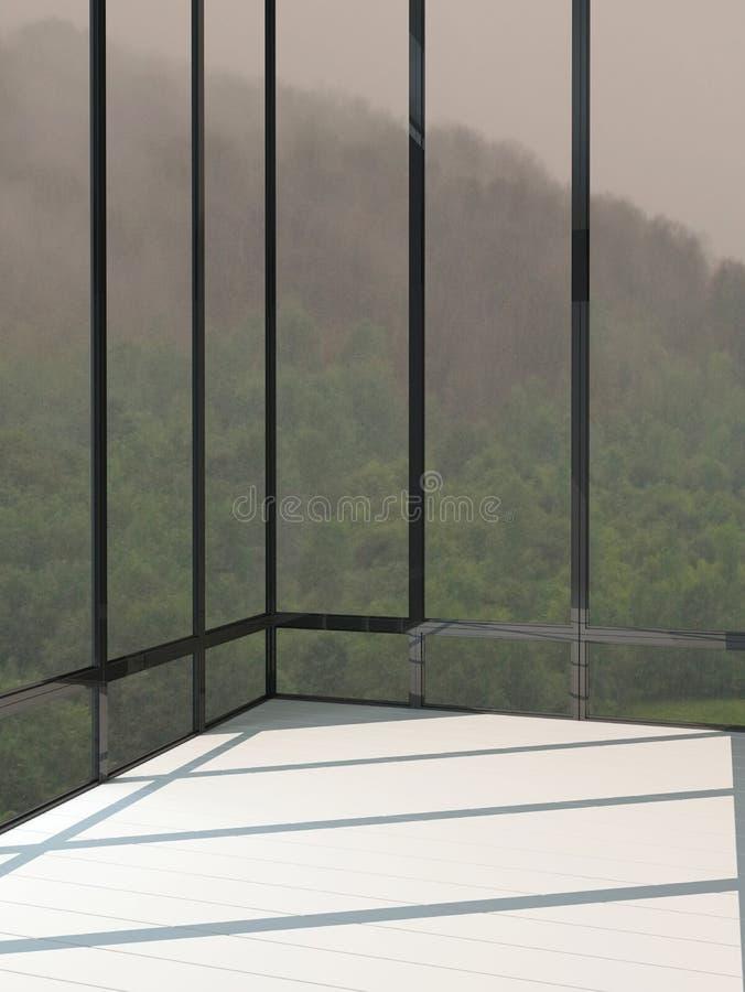 Пустой интерьер комнаты с огромными окнами бесплатная иллюстрация