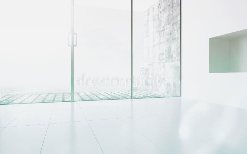Пустой интерьер комнаты с окном панорамы стоковое изображение rf