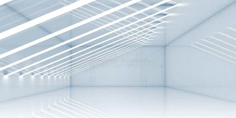 Пустой интерьер комнаты с тонкими нашивками светов бесплатная иллюстрация