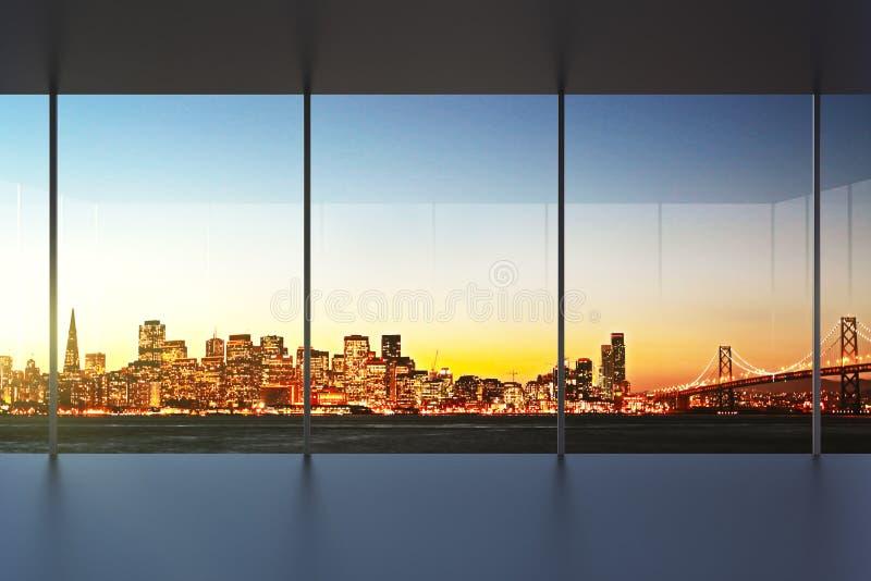 Пустой интерьер офиса на заходе солнца с красивым видом стоковые фотографии rf