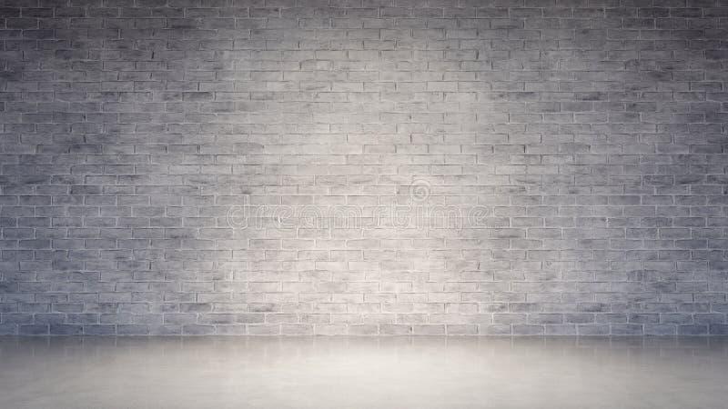 Пустой интерьер со старой белой кирпичной стеной и конкретным полом стоковые изображения rf
