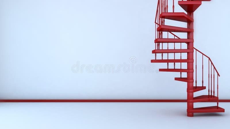 Пустой интерьер с винтовой лестницей иллюстрация 3d иллюстрация вектора