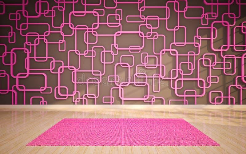 Пустой интерьер с ковром иллюстрация вектора
