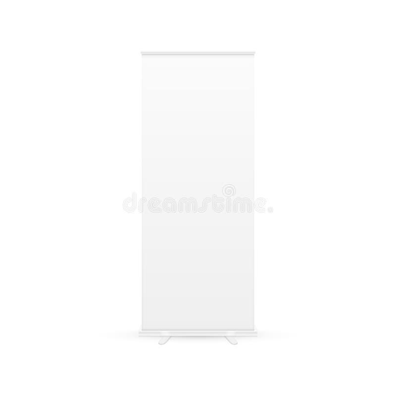 Пустой дисплей знамени крена-вверх с путем клиппирования белизна изолированная предпосылкой также вектор иллюстрации притяжки cor иллюстрация вектора