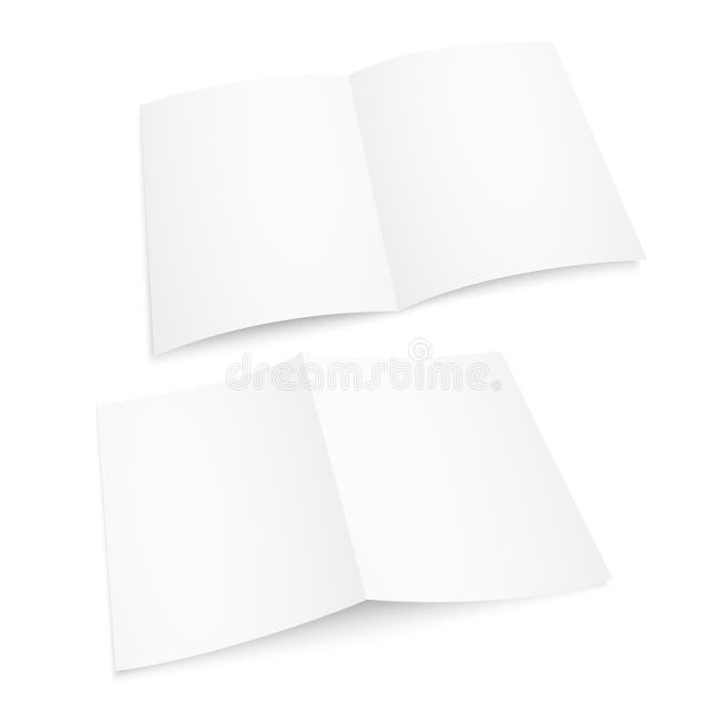 Пустой кассета раскрытая белизной Бумажный модель-макет альбома или книги на белой предпосылке Модель-макет вектора Шаблон брошюр иллюстрация штока
