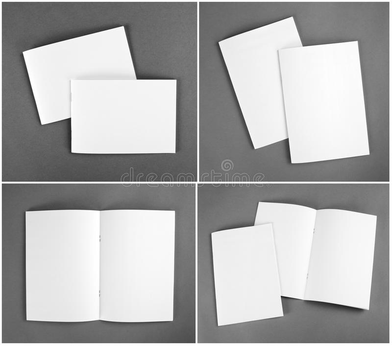 Пустой каталог, брошюра, кассеты, насмешка книги вверх стоковые изображения