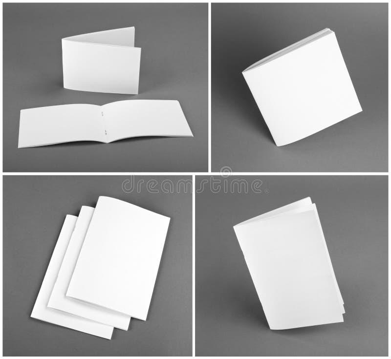 Пустой каталог, брошюра, кассеты, насмешка книги вверх стоковое изображение
