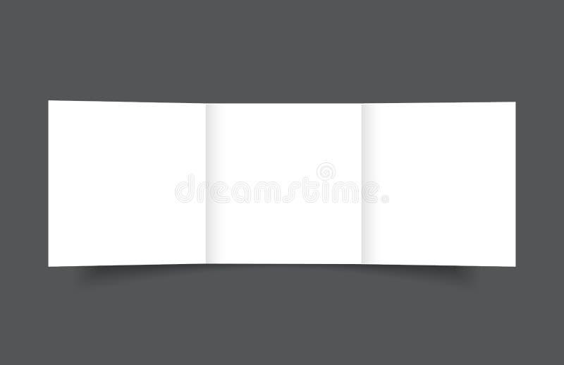 Пустой квадратный trifold шаблон крышки модель-макета брошюры иллюстрация вектора