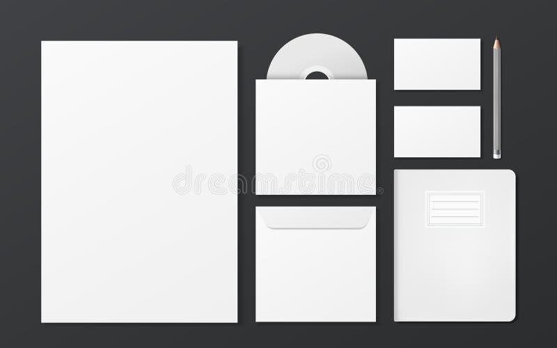 Пустой комплект канцелярских принадлежностей фирменного стиля иллюстрация вектора