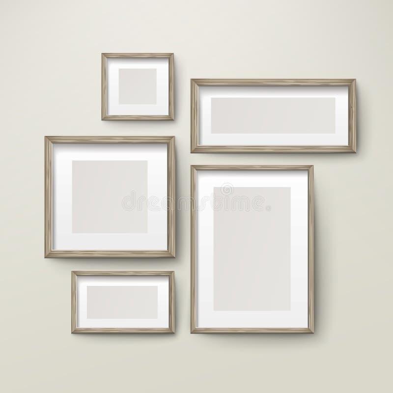 Пустой комплект шаблона деревянных рамок бесплатная иллюстрация