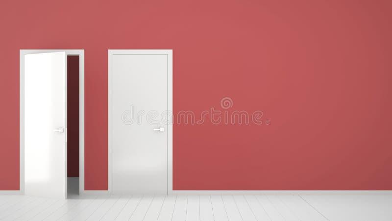 Пустой красный дизайн интерьера комнаты с открытыми и закрытыми дверями с рамкой, ручками двери, деревянным белым полом Выбор, ре иллюстрация штока