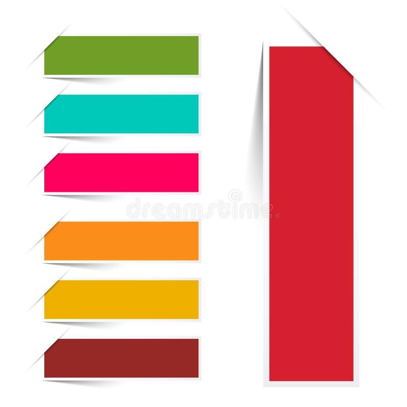 Пустой красочный бумажный набор ярлыков Iolated иллюстрация штока