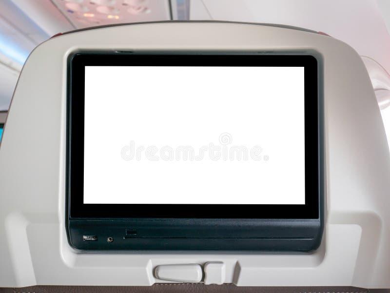 Пустой летный экран развлечений, пустой экран LCD в самолете стоковые фотографии rf