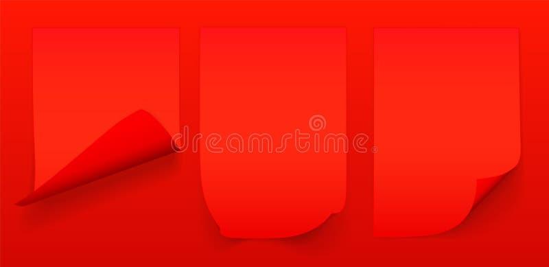 Пустой лист A4 красной бумаги с завитым углом и тени, шаблона для вашего дизайна r r иллюстрация штока