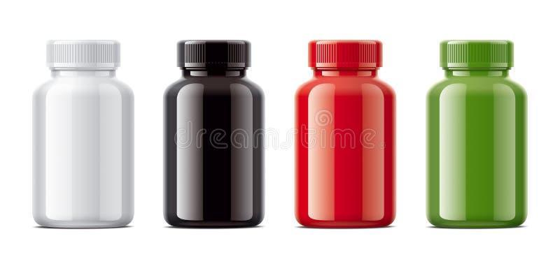 Пустой лоск разливает модель-макеты по бутылкам для пилюлек или других фармацевтических подготовок иллюстрация вектора
