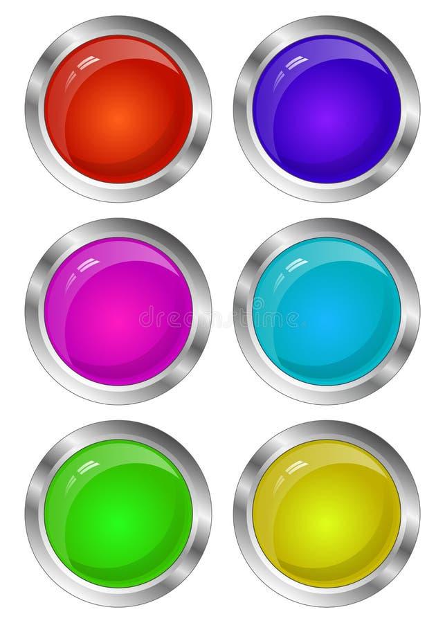 Пустой лоснистый комплект кнопки круга 3D Коллекция иллюстрация вектора
