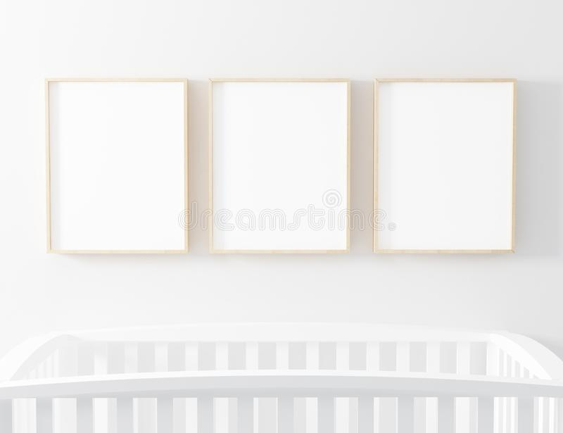 Пустой модель-макет питомника рамки с кроваткой младенца бесплатная иллюстрация