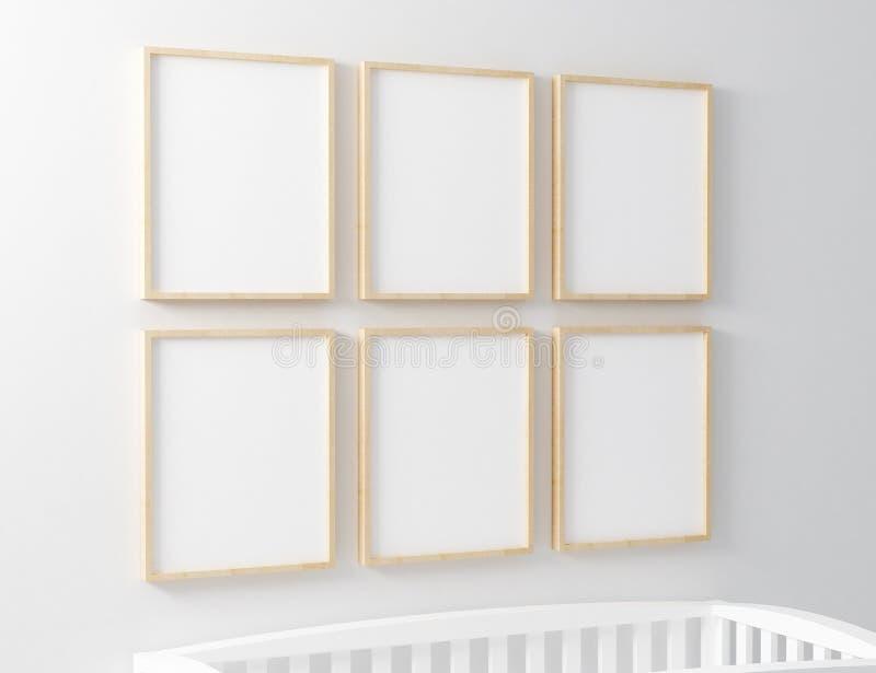 Пустой модель-макет питомника рамки с кроваткой младенца стоковые фотографии rf